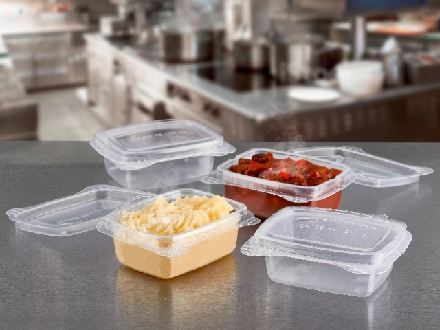 rectangular pp plastic reusable food containers with hinged lid for use back of house