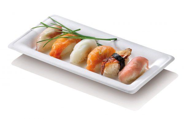 Rectangular bagasse plate or platter for sushi
