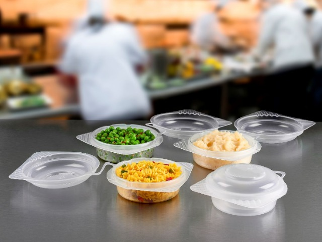 Round pp plastic reusable food containers with hinged lid