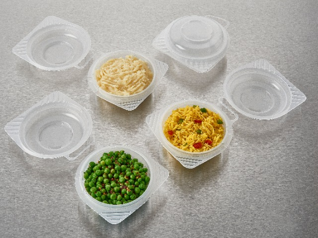 Round pp plastic reusable food containers with hinged lid for reheating foods