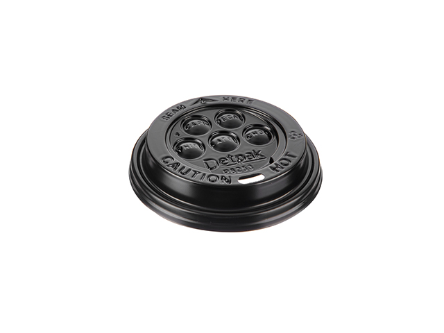 Black plastic lid for 8 oz cups