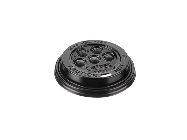 Black plastic lid for 8 oz cups