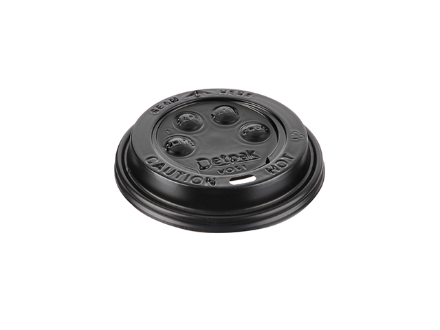 Black plastic sip through lid for 12 oz and 17 oz paper cups