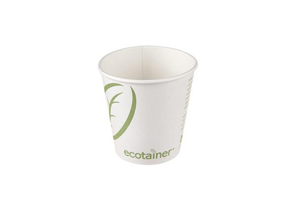 10 oz Ecotainer squat paper cup for small hot drinks