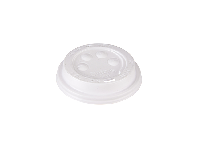 White plastic lid for 8 oz paper cups