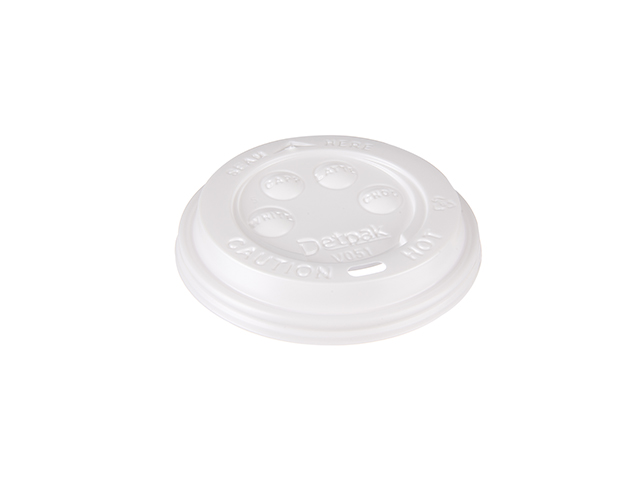 White plastic lid to fit 12 oz and 16 oz paper cups