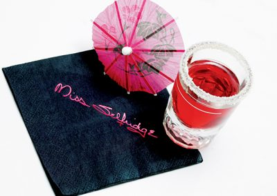 Black cocktail napkin with pink foil print
