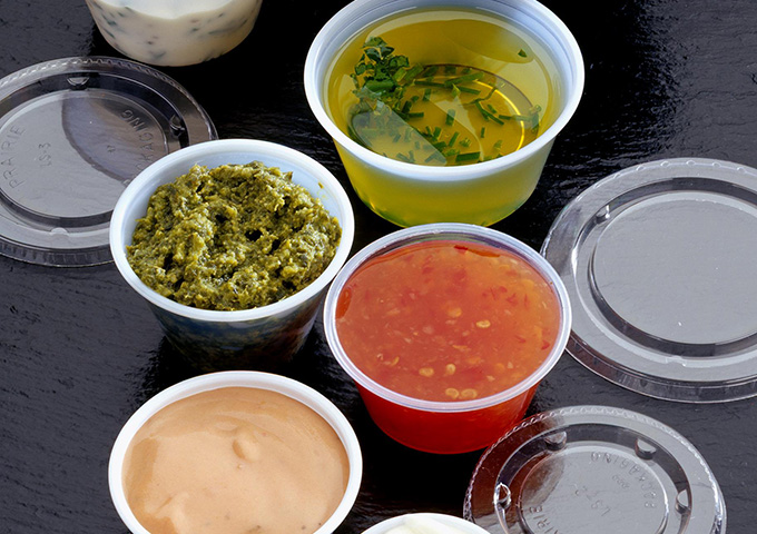 Clear Plastic Portion Pots & Lids for sauce, sides & dressings