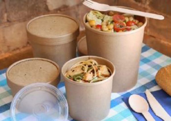 Plain kraft paper food containers and lids