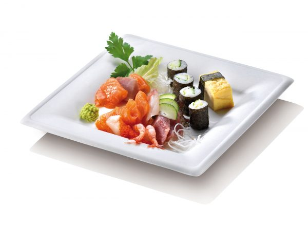 Bagasse square compostable plate white