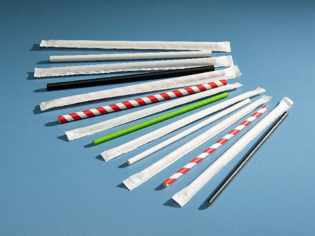 Individually wrapped paper straws in white paper wrapper