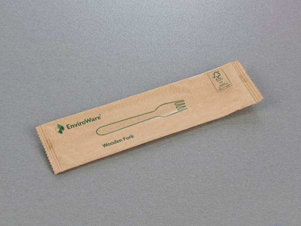 Front of wrapped wooden fork wrapper