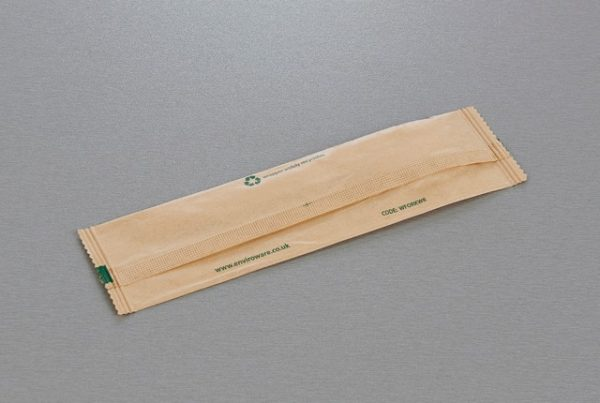 Back of wrapped wooden fork wrapper