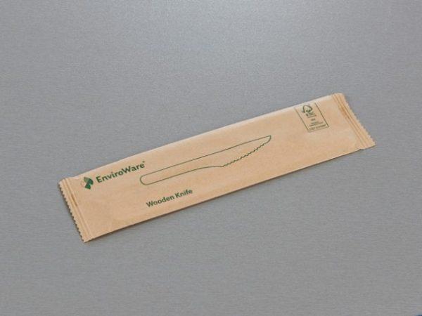 Front of WKNIFEWR wooden knife in enviroware printed wrapper