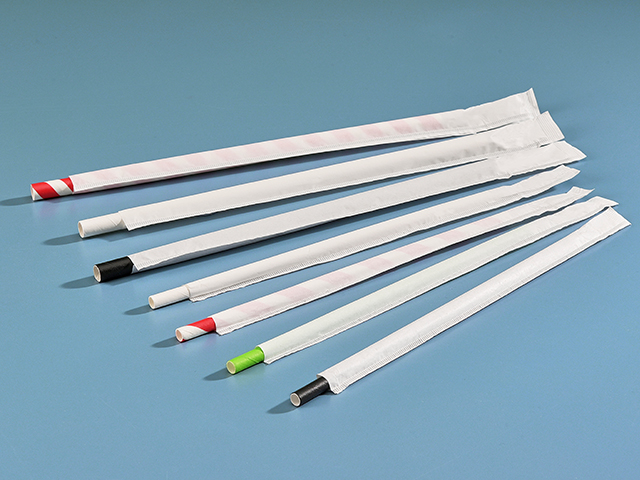 wrapped paper straw selection in white paper wrappers