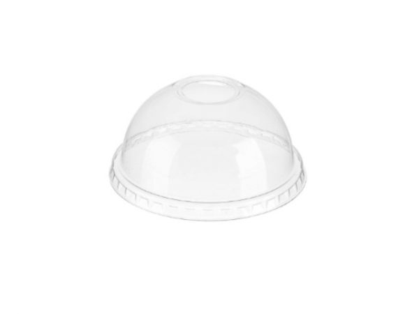 Clear plastic bubble done lid with hole for 9, 12-14, 16 and 20 fl oz cold drink cups
