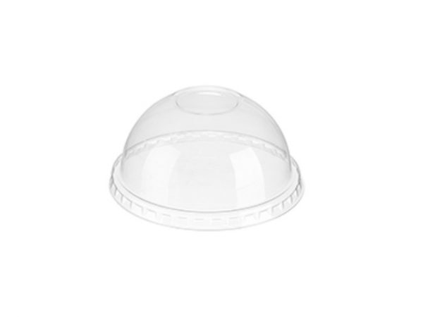 Clear plastic bubble done lid without hole for 9, 12-14, 16 and 20 fl oz cold drink cups