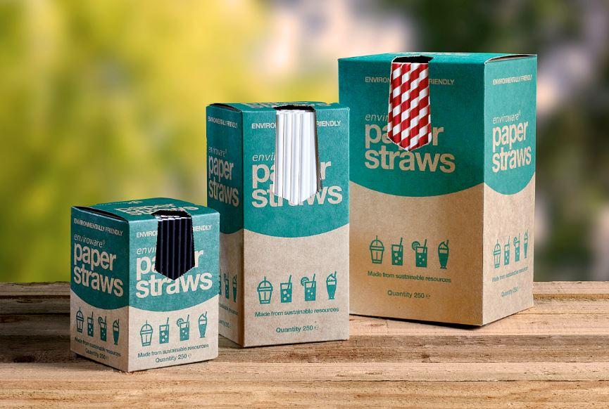 Enviroware paper straws in dispenser boxes